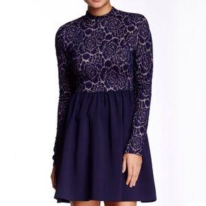 Everleigh Dress M Skater Blue Long Sleeve Lace